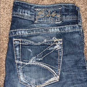 Women's straight leg Silver distressed jeans 26